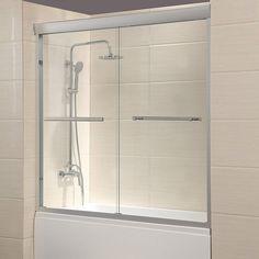 Mecor x Framed Bathtub Sliding Shower Door Clear Glass with 2 Towel Bars Finish Framed Shower Door, Bathroom Shower Doors, Frameless Sliding Shower Doors, Glass Shower Doors, Bath Shower, Shower Base, Bathroom Vanities, Glass Doors, Shower Door Handles