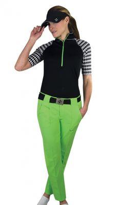 JoFit Ladies & Plus Size Golf Outfits (Shirt & Pant) - Melon Ball (Black & Grass) | via @lorisgolfshoppe