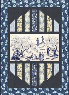 japanese quilts with panels Japanese Quilt Patterns, Modern Quilt Patterns, Quilting Projects, Quilting Designs, Quilting Ideas, Fabric Panel Quilts, Strip Quilts, Fabric Panels, Wildlife Quilts