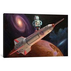 iCanvas Rocket Surfer Gallery Wrapped Canvas Art Print by Eric Joyner