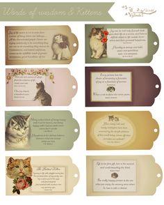 Free printable Words of Wisdom Kitten Tags
