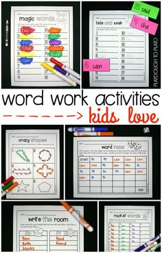 "Word Work Activities Kids LOVE! Full of fun games like, ""magic words,"" ""hide and seek,"" ""crazy shapes"" and ""rocket words!"" Kids will love them and teachers will love the NO prep!"