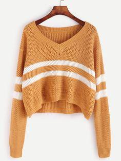 Yellow Striped Chevron Knit Sweater