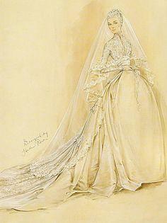 Sketch for Graces wedding dress by dovima_is_devine_II, via Flickr