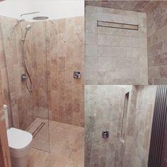 Travertine in wet room Topps Tiles, Style Tile, Wet Rooms, Travertine, Alcove, Toilet, Bathtub, Stone, Standing Bath