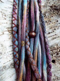 10pc Dusk Custom Order Tie-Dye Beaded Wool Dreads Bohemian Hippie Dreadlocks Tribal Synthetic Boho Extensions