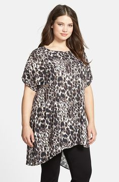 Sejour Short Sleeve Asymmetrical Tunic (Plus Size) available at #Nordstrom