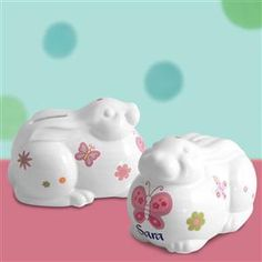 Personalized Ceramic Butterfly Bunny Bank for Girls