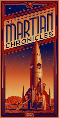 The Martian Chronicles - Ray Bradbury - cover art by Timothy Anderson Arte Sci Fi, Sci Fi Art, Desenho Pop Art, Culture Art, Pop Culture, 8bit Art, Classic Sci Fi, Timeless Classic, Art Deco Posters