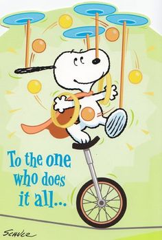 """Thank You Card Peanuts """"To the One Who Does It All"""""""