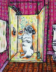 French Bulldog taking a bath bathroom signed dog art print. This Print in on heavyweight Matte paper. The Image has an approximate 1/4 inch white border around it with a printed title on the bottom left below the image as shown in the product sample image.
