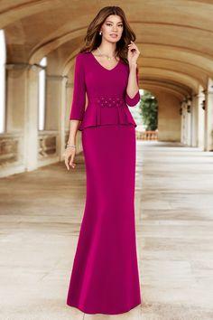 Vestido NATI JIMENEZ Largo Volante Formal Dresses For Weddings, Dressy Dresses, Event Dresses, Formal Gowns With Sleeves, Disney Prom Dresses, Chiffon Dress Long, Mothers Dresses, Dress Cuts, Designer Dresses