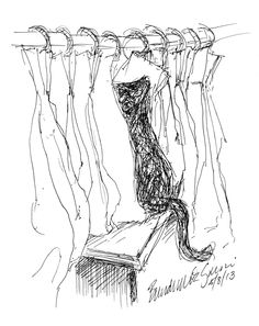 """Between the Curtains"", ink technical drawing pen, 5.5"" x 8.5"" • Bernadette E. Kazmarski"