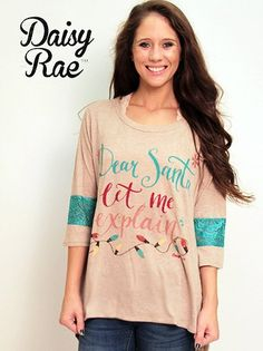 Southern Grace Christmas Collection Dear Santa, Let Me Explain Tan Shirt with Turquoise Lace Accent Sleeves