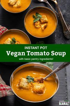 Quick Tomato Soup, Vegan Tomato Soup, Tomato Soup Recipes, Vegetarian Soup, Vegan Soups, Vegetarian Recipes, Vegan Food, Delicious Vegan Recipes, Healthy Recipes