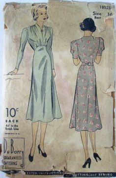 DuBarry 1892B Womens 30s Dress Vintage Sewing by Denisecraft, $15.99