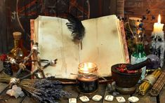 Old witch book with empty pages, lavender flowers, pentagram and witchcraft objects. Occult, esoteric, divination and wicca concept. Mystic and vintage Perfect Image, Perfect Photo, Love Photos, Cool Pictures, Magic Bottles, Occult Books, Love Spell That Work, Candle Spells, Letters
