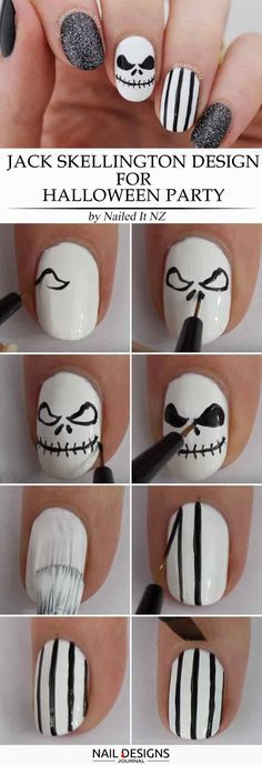 There are many easy Halloween nails tutorials out there, and sometimes it may get confusing on what to pick. So, we simplified that process for you! einfach Creative but Easy Halloween Nails Designs You Can Copy Cute Halloween Nails, Halloween Acrylic Nails, Halloween Jack, Halloween Party, Diy Nails, Cute Nails, Pretty Nails, Christmas Nail Designs, Halloween Nail Designs