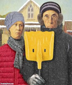 American Gothic Winter by Unknown artist American Gothic Painting, American Gothic House, Grant Wood American Gothic, American Gothic Parody, American Art, Grant Wood Paintings, Paintings Famous, Famous Artwork, Classic Paintings