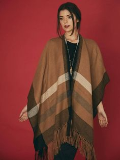 organic fringe gorgeous unisex Icelandic style brown hand knit wool and mohair poncho Vintage lived in look