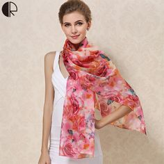 Women Winter Long Scarf Shawl Spring Autumn Female 100% Silk Scarves Printed Summer 100% Silk Beach Cover-ups AM222 LA * AliExpress Affiliate's Pin.  Locate the AliExpress offer simply by clicking the image