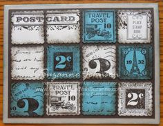 STAMPIN UP!  POSTCARD & POSTAGE DUE C.A.S.E. in Lost Lagoon In Color  by Suzanne Johnson at www.gottastampwithsuzanne.com