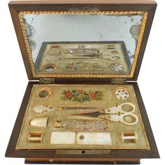 Antique French Musical Palais Royal Sewing Etui Box. All Mother of Pearl Pieces Remain Except One Thread Winder. The Thimble is Broken…Glued and a