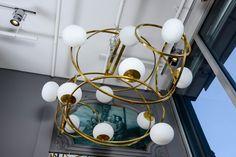 Impressive Multi Hoops Brass and Glass Chandelier 8