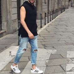 Sleeveless shirt and ripped jeans by @karlo_lewis [ http://ift.tt/1f8LY65 ]