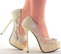 Fashion Sexy Ladies Lace Open Toe Evening Party Super High Heels   eBay
