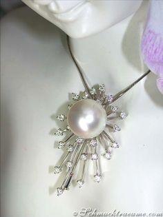 Opulent South Sea pearl pendant / brooch with diamonds » Juwelier Schmucktraeume.com