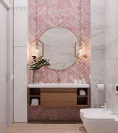 I like the colourful herringbone with the marble behind...and I like the pendants! Washroom Design, Bathroom Design Luxury, Home Interior Design, Ideas Baños, Beautiful Bathrooms, House Rooms, Bathroom Inspiration, Small Bathroom, House Design