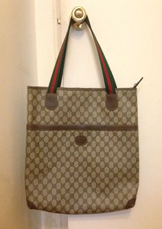 VINTAGE+GUCCI+SIGNATURE+MONOGRAM+COATED+BROWN+LEATHER+CANVAS+SHOPPER+TOTE+BAG+#Gucci+#TotesShoppers