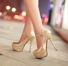 Snake Paillette Stiletto High Heels Pumps Gold