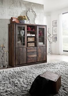Highboard / modern / Sheesham Palisander geölt / strong grey / 140 x 47 x 150