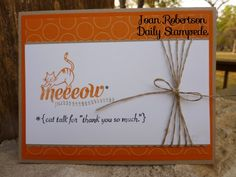 Stampin Up! Demonstrator- Joan Robertson, Daily Stampede Blog, Stampin Up! Card Ideas & Tutorials. Made with Animal Talk stamp set - one of four cards in the set.