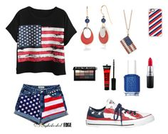 """""""America"""" by cecebrown0204 ❤ liked on Polyvore featuring Chicnova Fashion, Casetify, Converse, Silver Forest, Sydney Evan, MAC Cosmetics, Essie and Bobbi Brown Cosmetics"""
