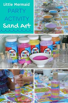 Mermaid Party Games & Activities Sand art - great activity for a Little Mermaid party!Sand art - great activity for a Little Mermaid party! Mermaid Party Games, Kids Party Games, Princess Party Games, Rainbow Party Games, Art Party Activities, Activity Games, Little Mermaid Birthday, Little Mermaid Parties, The Little Mermaid Games
