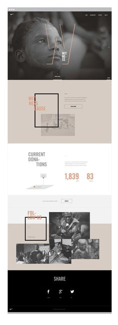 Nike Charity Site - Web Design -  Flat, Ghost Buttons, Big Typography, Beige, Gray, Black, White, Photos