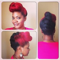 The updo on natural hair. Liking the red streak.