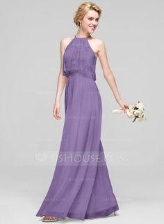 A-Line Princess Scoop Neck Floor-Length Chiffon Bridesmaid Dress With  Ruffle Cheap 608bb96bb