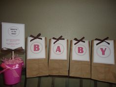 Gifts For The Game Winners! I Got The Bags At The Dollar Store! How Cute  Are They For A Baby Shower?! I Put Different Spa Treatments In The Bags. Fu2026
