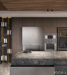 Smoky Grey Interior With Warm Ambient Lighting - Decorasium Stone Feature Wall, Modern Home Office Desk, Wood Cladding, Ensuite Bathrooms, Gray Interior, Interior Design Studio, Lounge Areas, Luxury Apartments, Luxurious Bedrooms