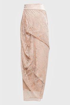 Lilian Draped Lace Skirt in Nude Dress Muslim Modern, Dress Brokat Modern, Kebaya Modern Dress, Kebaya Lace, Kebaya Hijab, Kebaya Dress, Kebaya Brokat, Model Rok Kebaya, Model Kebaya Modern