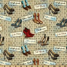 1 Yard Quilt Cotton Fabric Spectrix Fashionista Sassy Shoes Toss on Words | eBay