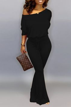 Lovely Casual Dew Shoulder Black One-piece Jumpsuit Shop online for women's latest fashion clothing. Dresses, tops, bottoms, shoes, accessories & more . Black Jumpsuit Outfit, Black One Piece Jumpsuit, Yellow Jumpsuit, Black Women Fashion, Look Fashion, Fashion Outfits, Womens Fashion, Black Women Style, Casual Chic Fashion