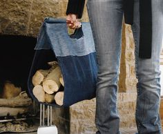 Denim firewood carrier use pic for pattern