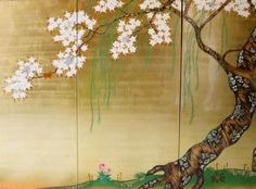 """Detail of Sakai Hōitsu's screen, """"Cherry Trees"""" from """"Maples and Cherry Trees"""" pair, Denver Art Museum. Image not available at the museum website."""