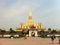 Pha That Luang in Vientiane, Laos.  The most important Wat in Laos.  Spectacular.