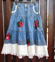 summer Denim boho hippie Gypsy jean skirt by SwiezaKoszula on Etsy